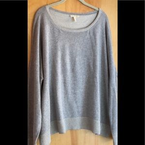 Eileen Fisher organic cotton gray roomy sweater XL